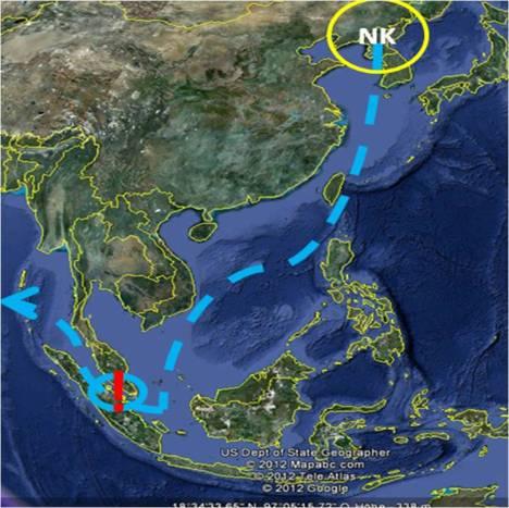 Irgendwie so müssen die nordkoreanischen Schiffe fahren. Besonders eng wird es in der Straße von Malakka, aber auch ansonsten ist man in vielbefahrenem Gebiet unterwegs.