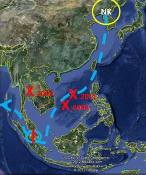 Zwischenfälle mit nordkoreanischen Waffen.
