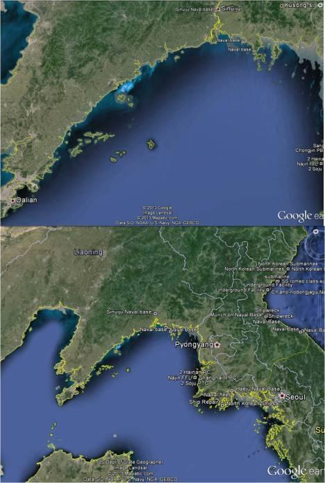 Gefährliche Untiefen. In den Grenzgewässern zwischen Nordkorea und China sind die Verhältnisse nicht ganz klar. Der Verdacht liegt nahe, dass Angehörige der nordkoreanischen Marinebasen in der Region ihr Einkommen mit kriminellen Aktivitäten aufbessern. (Karte: Google Earth und North Korea Uncovered von North Korean Economy Watch)